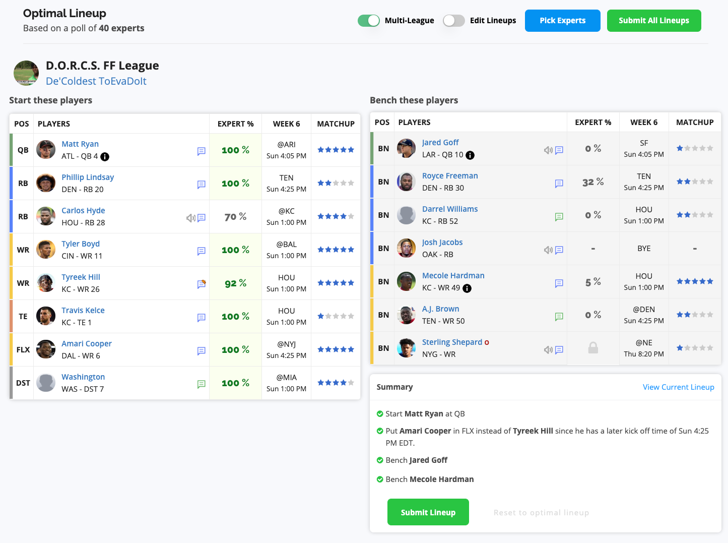 Fantasy Football Start / Sit Assistant screenshot