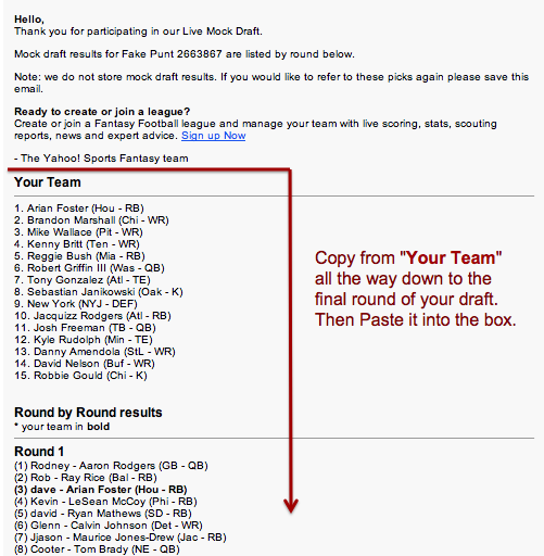 Import Yahoo Mock Draft Results
