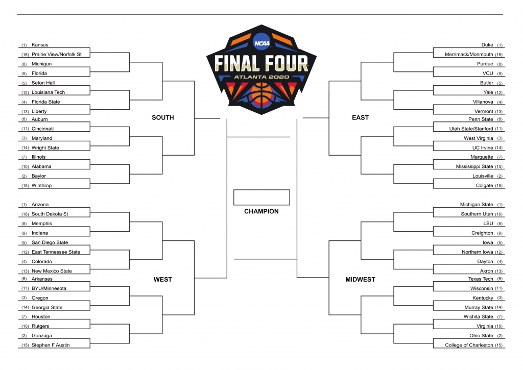 It is a graphic of Dashing Printable March Madness 2020 Bracket