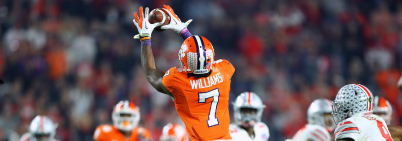 Clemson wide receiver Mike Williams hauling in a pass at its high point, what he does best.